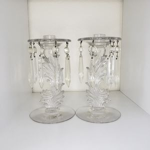 Vintage Heisey Glass Queen Ann candle holders